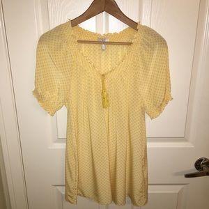 Joie Masha peasant daisy print blouse with tassel